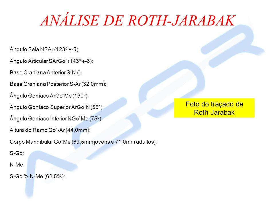 ANÁLISE DE ROTH-JARABAK Ângulo Sela NSAr (123 o +-5): Ângulo Articular SArGo` (143 o +-6): Base Craniana Anterior S-N (): Base Craniana Posterior S-Ar