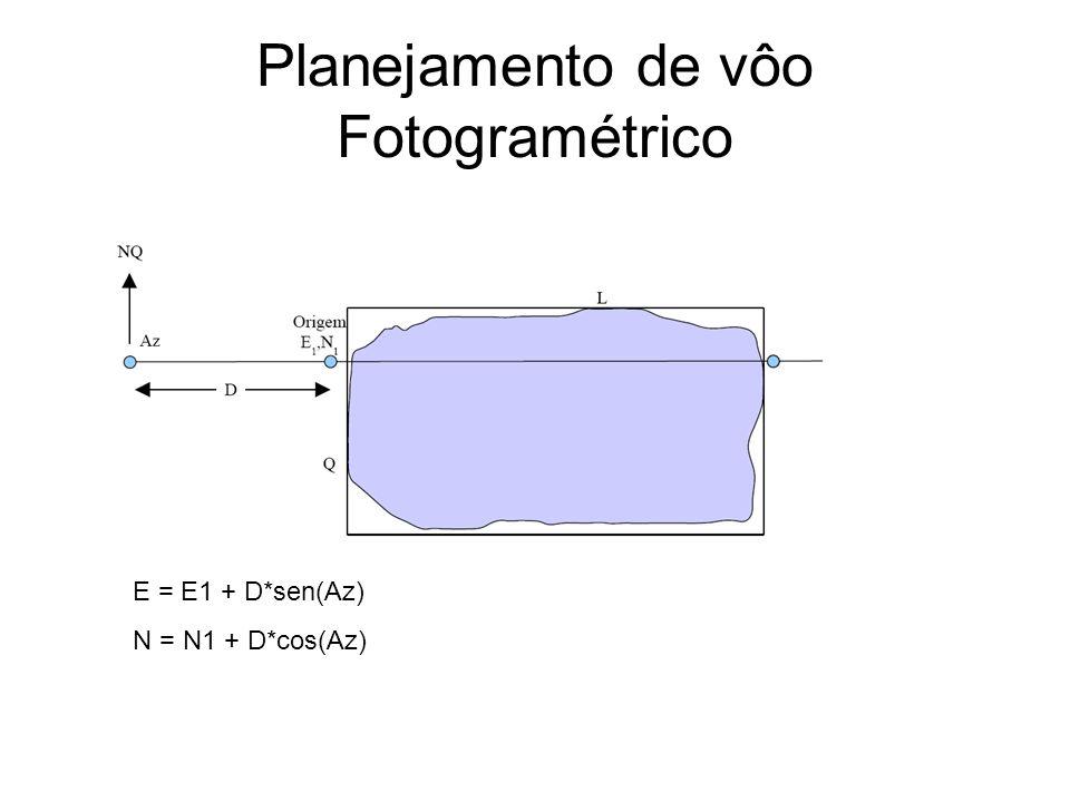Planejamento de vôo Fotogramétrico Exemplo mapa de vôo