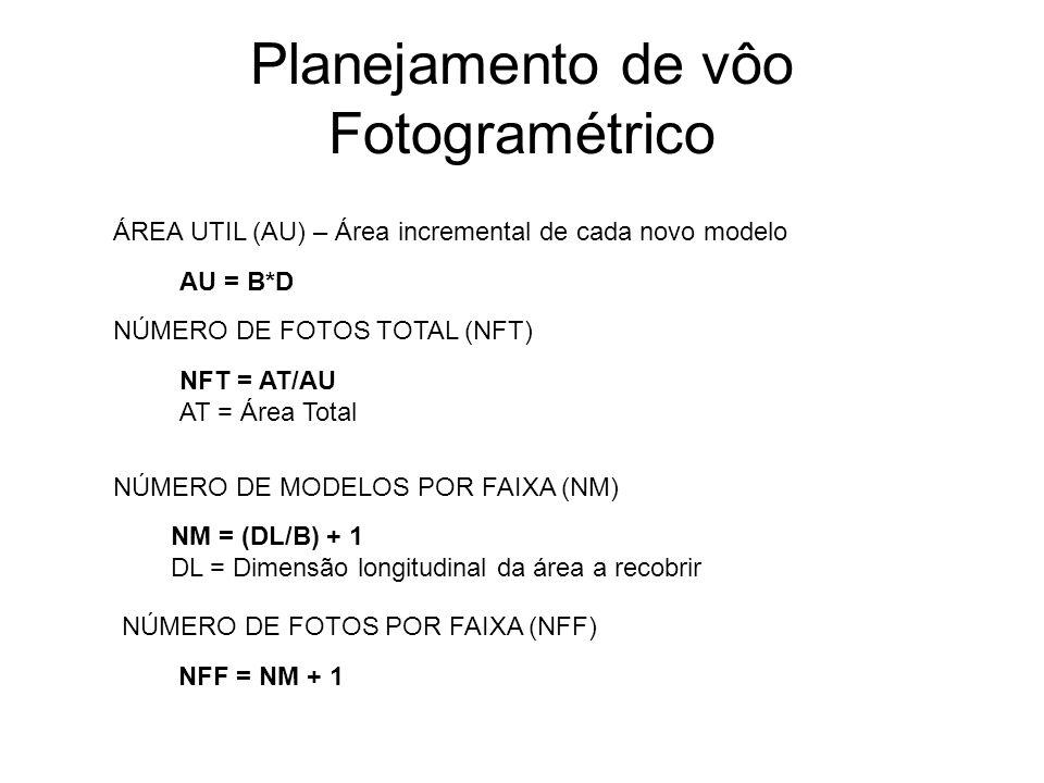 Planejamento de vôo Fotogramétrico NS = (DT/D) + 1 DT – Dimensão transversal da área a recobrir D – Distancia entre faixas NÚMERO DE FAIXA EM UM BLOCO (NS) INTERVALO ENTRE EXPOSIÇÃO (T) T = B/V V = Velocidade da aeronave