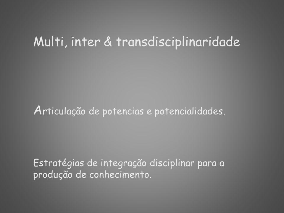 Multi, inter & transdisciplinaridade A rticulação de potencias e potencialidades. Estratégias de integração disciplinar para a produção de conheciment