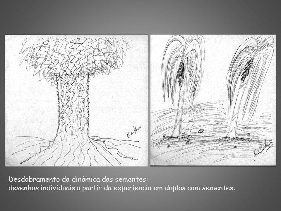 Desdobramento da dinâmica das sementes: desenhos individuais a partir da experiencia em duplas com sementes.