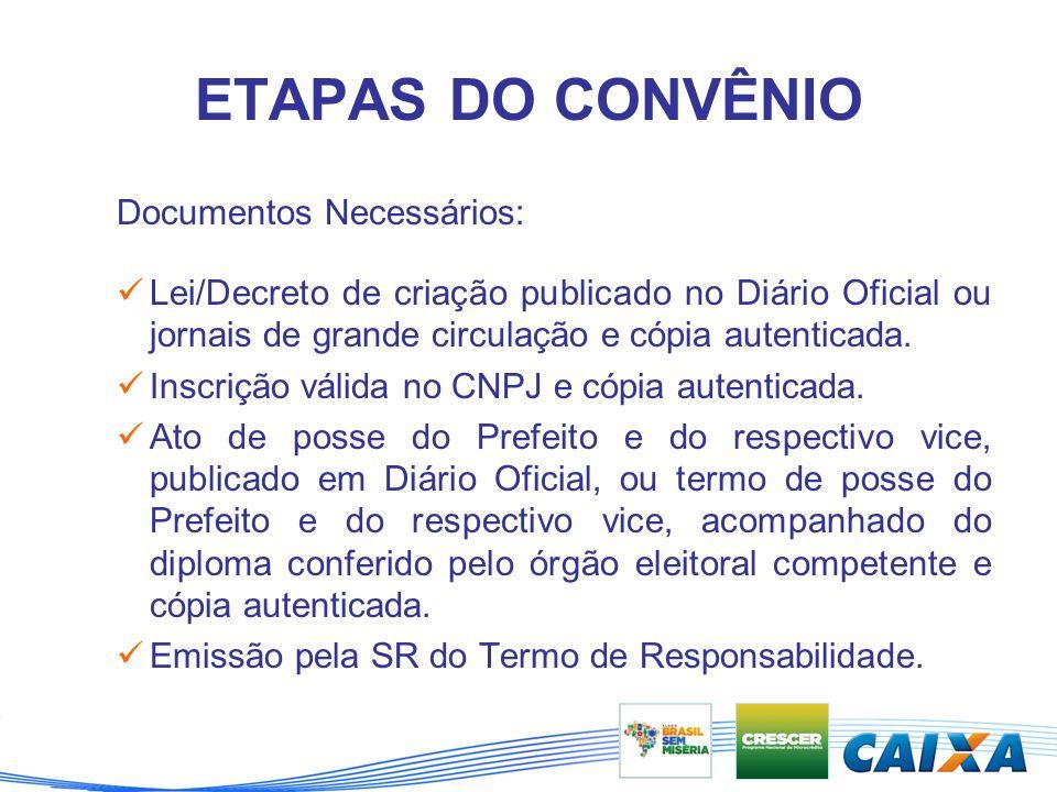 ETAPAS DO CONVÊNIO Documentos Necessários: Lei/Decreto de criação publicado no Diário Oficial ou jornais de grande circulação e cópia autenticada.