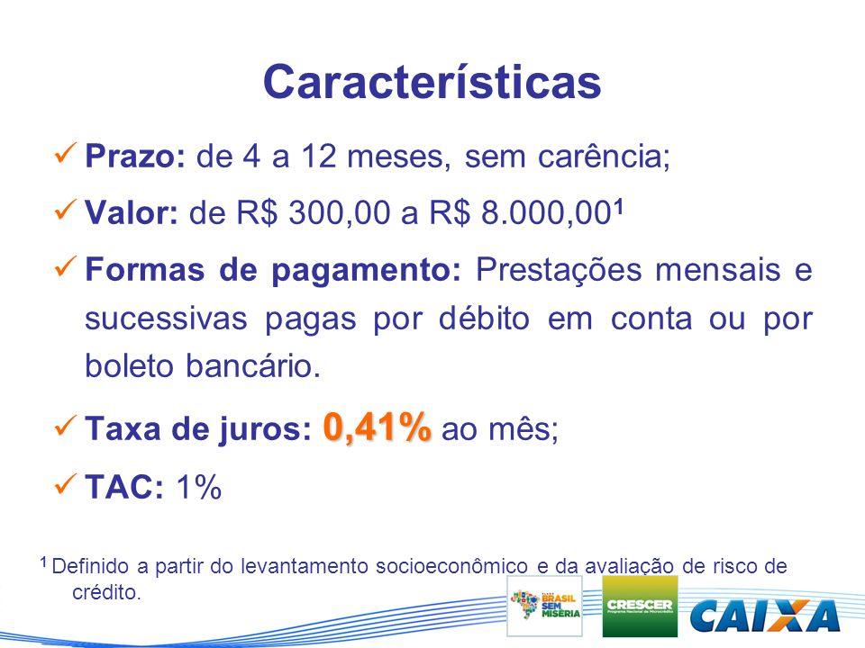 Características Prazo: de 4 a 12 meses, sem carência; Valor: de R$ 300,00 a R$ 8.000,00 1 Formas de pagamento: Prestações mensais e sucessivas pagas por débito em conta ou por boleto bancário.