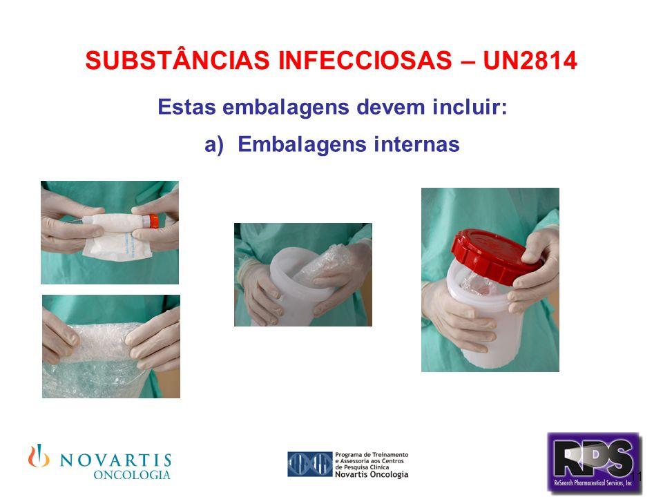11 SUBSTÂNCIAS INFECCIOSAS – UN2814 Estas embalagens devem incluir: Embalagens internas
