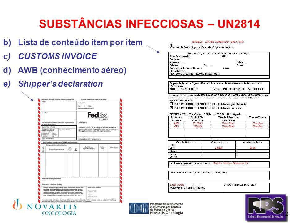 12 SUBSTÂNCIAS INFECCIOSAS – UN2814 Lista de conteúdo item por item CUSTOMS INVOICE AWB (conhecimento aéreo) Shippers declaration