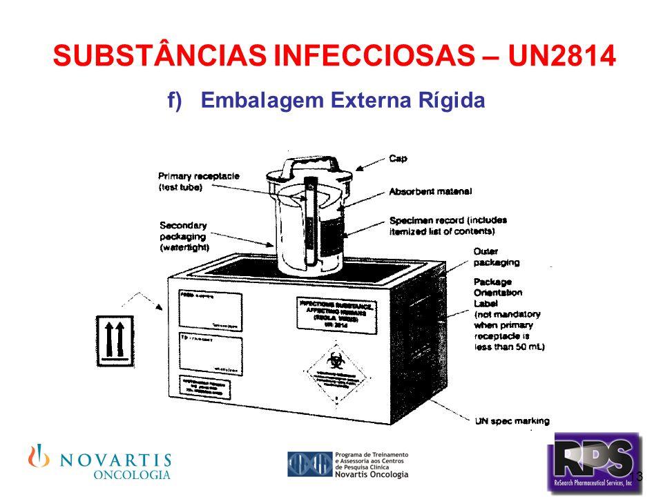 13 SUBSTÂNCIAS INFECCIOSAS – UN2814 Embalagem Externa Rígida