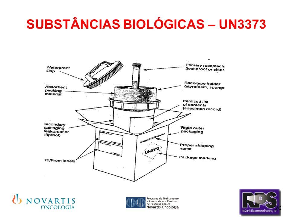 20 SUBSTÂNCIAS BIOLÓGICAS – UN3373