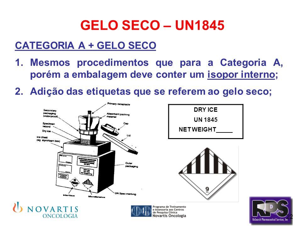 22 GELO SECO – UN1845 CATEGORIA A + GELO SECO Mesmos procedimentos que para a Categoria A, porém a embalagem deve conter um isopor interno; Adição das