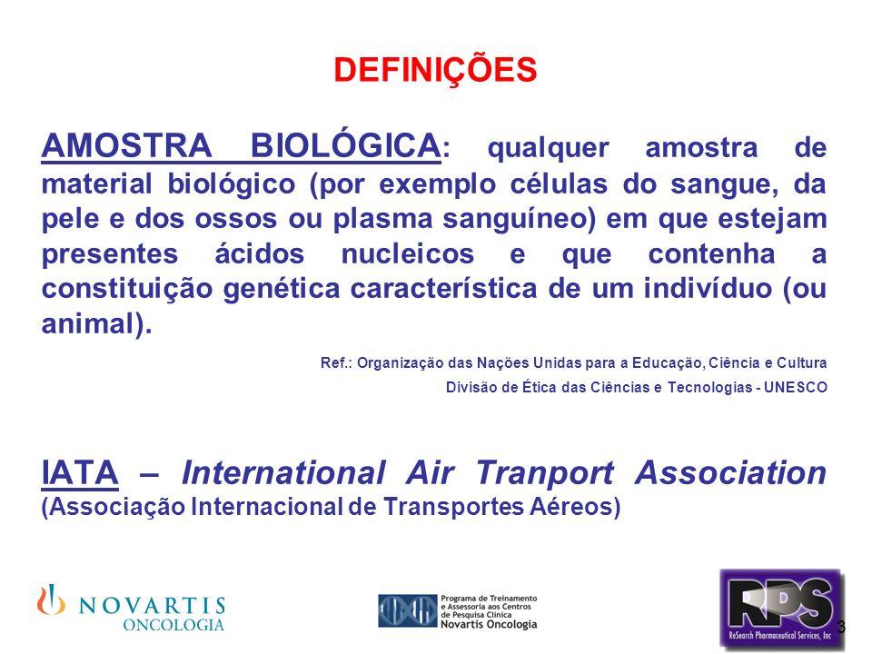 3 DEFINIÇÕES AMOSTRA BIOLÓGICA : qualquer amostra de material biológico (por exemplo células do sangue, da pele e dos ossos ou plasma sanguíneo) em qu