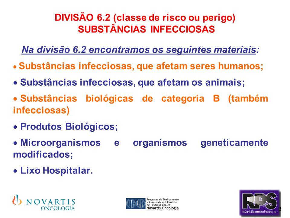 8 DIVISÃO 6.2 (classe de risco ou perigo) SUBSTÂNCIAS INFECCIOSAS Na divisão 6.2 encontramos os seguintes materiais: Substâncias infecciosas, que afet