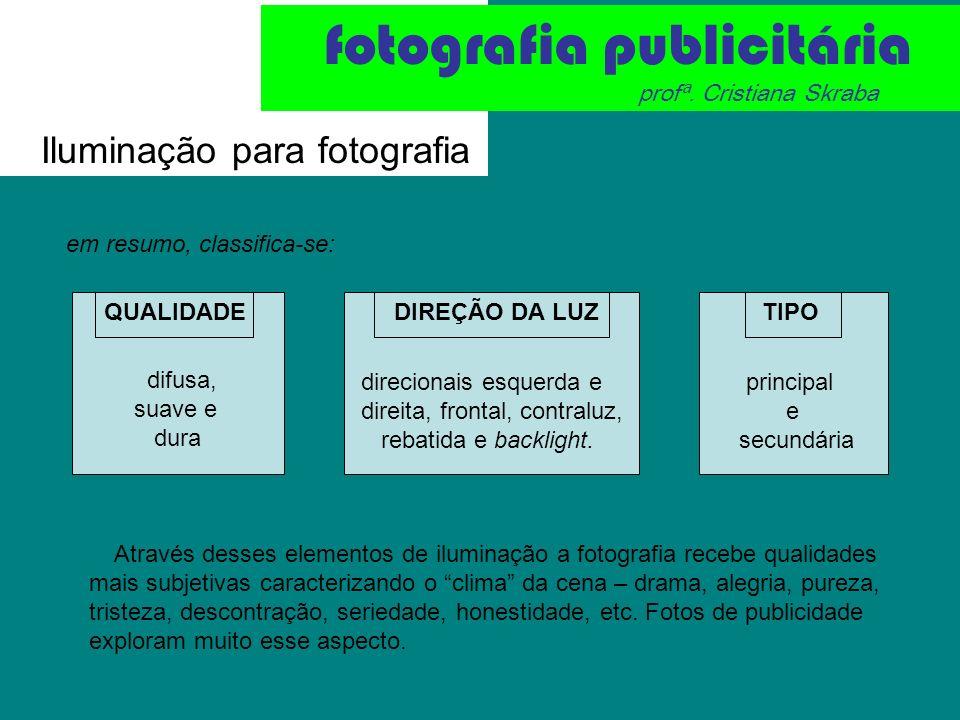 Iluminação para fotografia fotografia publicitária profª. Cristiana Skraba em resumo, classifica-se: QUALIDADEDIREÇÃO DA LUZTIPO principal e secundári