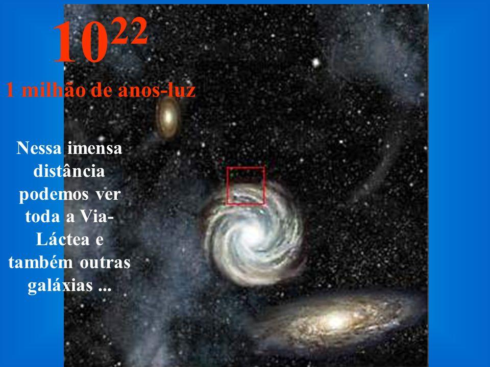 Agora chegamos na periferia da nossa Via-Láctea 10 21 100.000 anos-luz Portanto, precisaríamos de 100.000 anos para atingir a periferia da Via-Láctea, caso fosse possível viajar à velocidade de 300.000 km por segundo.