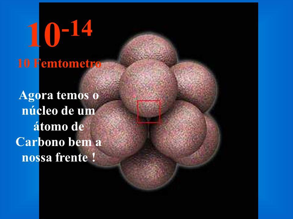 Neste incrível e minúsculo tamanho começamos a enxergar o núcleo do átomo, ainda pequeno.