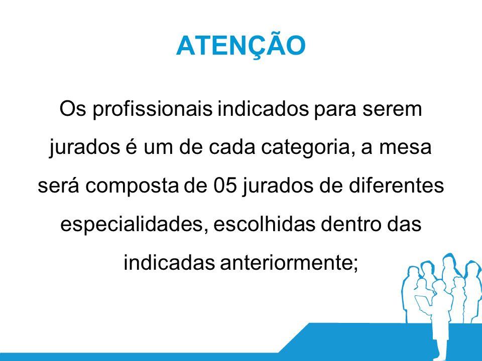 ATENÇÃO Os profissionais indicados para serem jurados é um de cada categoria, a mesa será composta de 05 jurados de diferentes especialidades, escolhidas dentro das indicadas anteriormente;