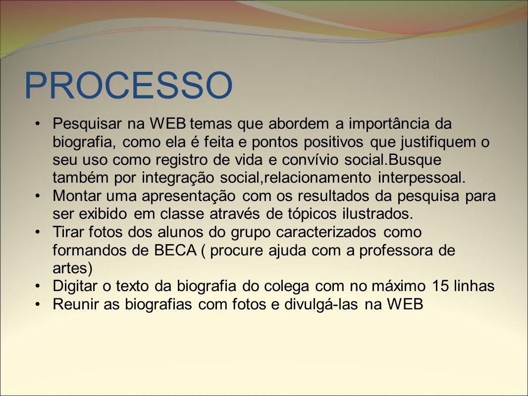 RECURSOS COMECE AVALIANDO A DICA DE SITES http://pt.wikipedia.org/wiki/Biografia http://www.scielo.br/pdf/es/v20n67/v20n67a05.pdf https://sistemas.usp.br/siicusp/cdOnlineTrabalhoVisualizarResu mo?numeroInscricaoTrabalho=3899&numeroEdicao=16https://sistemas.usp.br/siicusp/cdOnlineTrabalhoVisualizarResu mo?numeroInscricaoTrabalho=3899&numeroEdicao=16 Procure a professora de artes e peça ajuda na confecção da beca.