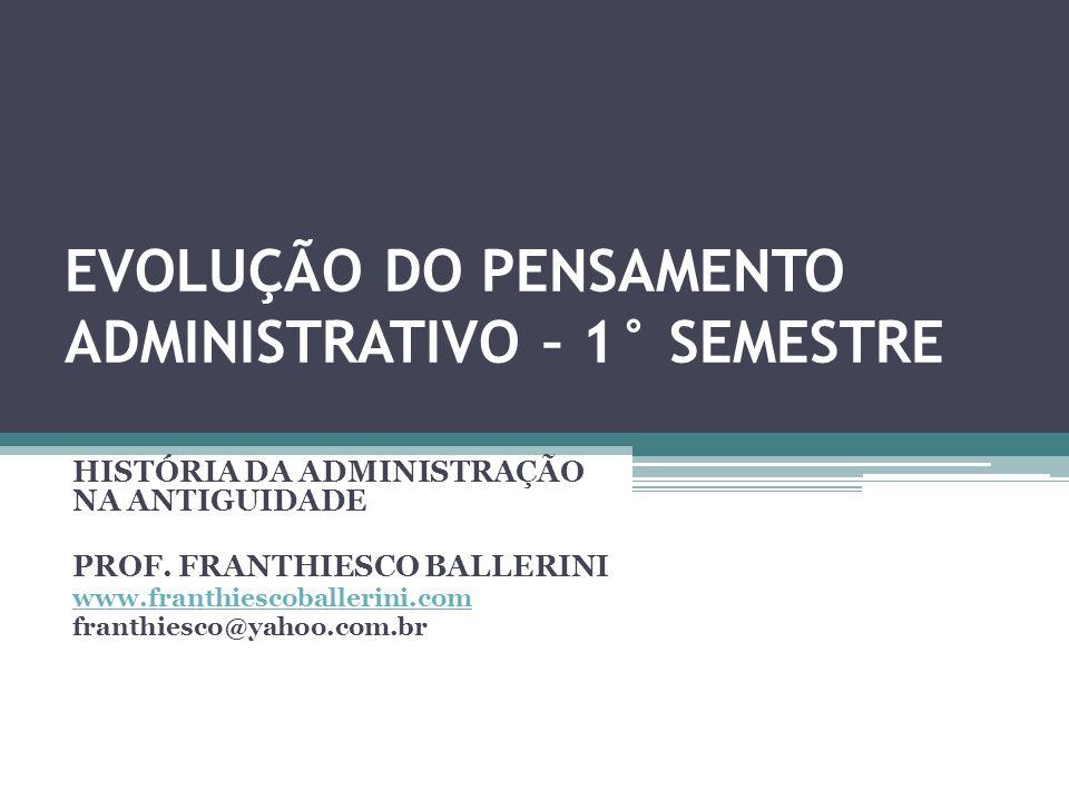 HISTÓRIA DA ADMINISTRAÇÃO NA ANTIGUIDADE BIBLIOGRAFIA BÁSICA: MAXIMIANO, A.C.A., INTRODUÇÃO À ADMINISTRAÇÃO, 2001, ATLAS.