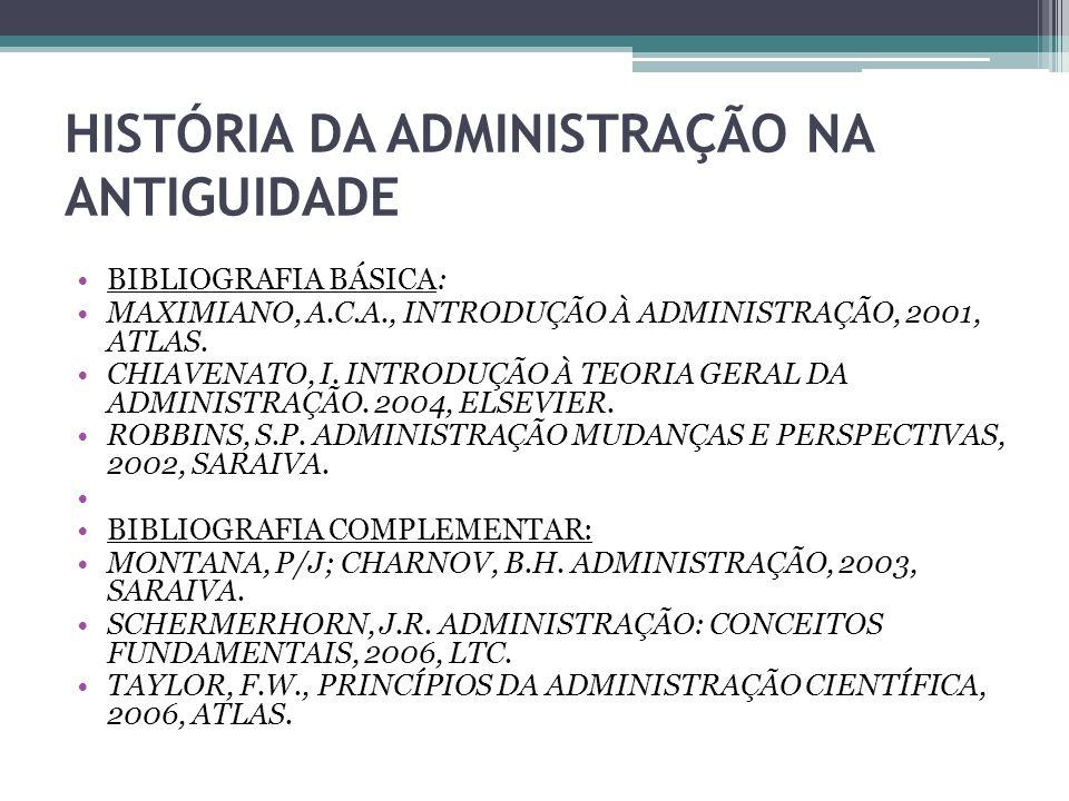 HISTÓRIA DA ADMINISTRAÇÃO NA ANTIGUIDADE BIBLIOGRAFIA BÁSICA: MAXIMIANO, A.C.A., INTRODUÇÃO À ADMINISTRAÇÃO, 2001, ATLAS. CHIAVENATO, I. INTRODUÇÃO À