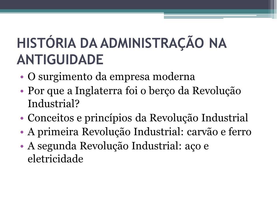 HISTÓRIA DA ADMINISTRAÇÃO NA ANTIGUIDADE As consequências da Revolução Industrial na administração moderna A gestão da Revolução Industrial Impactos gerais da Revolução Industrial O aparecimento das fábricas