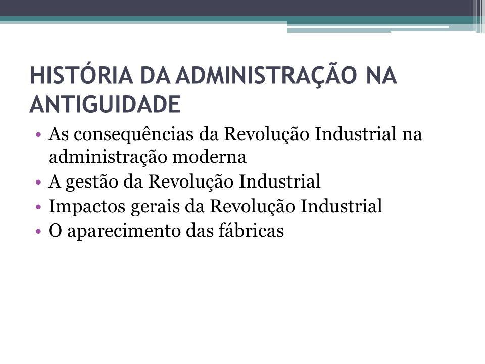HISTÓRIA DA ADMINISTRAÇÃO NA ANTIGUIDADE As consequências da Revolução Industrial na administração moderna A gestão da Revolução Industrial Impactos g