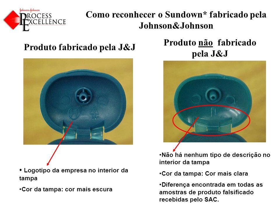 Como reconhecer o Sundown* fabricado pela Johnson&Johnson Produto fabricado pela J&J Produto não fabricado pela J&J Logotipo da empresa no interior da tampa Cor da tampa: cor mais escura Não há nenhum tipo de descrição no interior da tampa Cor da tampa: Cor mais clara Diferença encontrada em todas as amostras de produto falsificado recebidas pelo SAC.