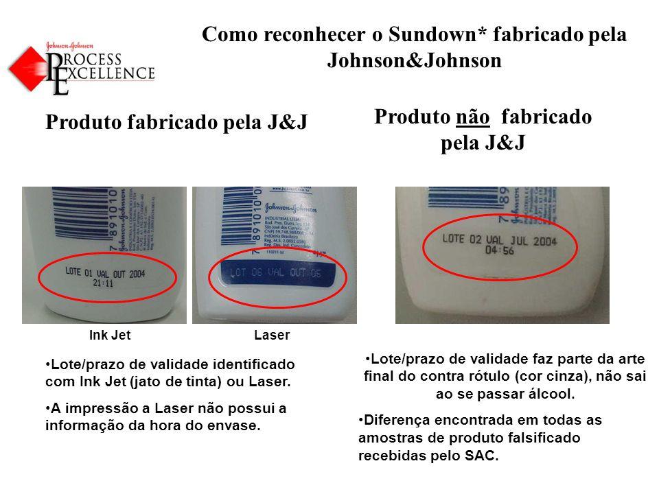 Como reconhecer o Sundown* fabricado pela Johnson&Johnson Produto fabricado pela J&J Produto não fabricado pela J&J Lote/prazo de validade faz parte da arte final do contra rótulo (cor cinza), não sai ao se passar álcool.