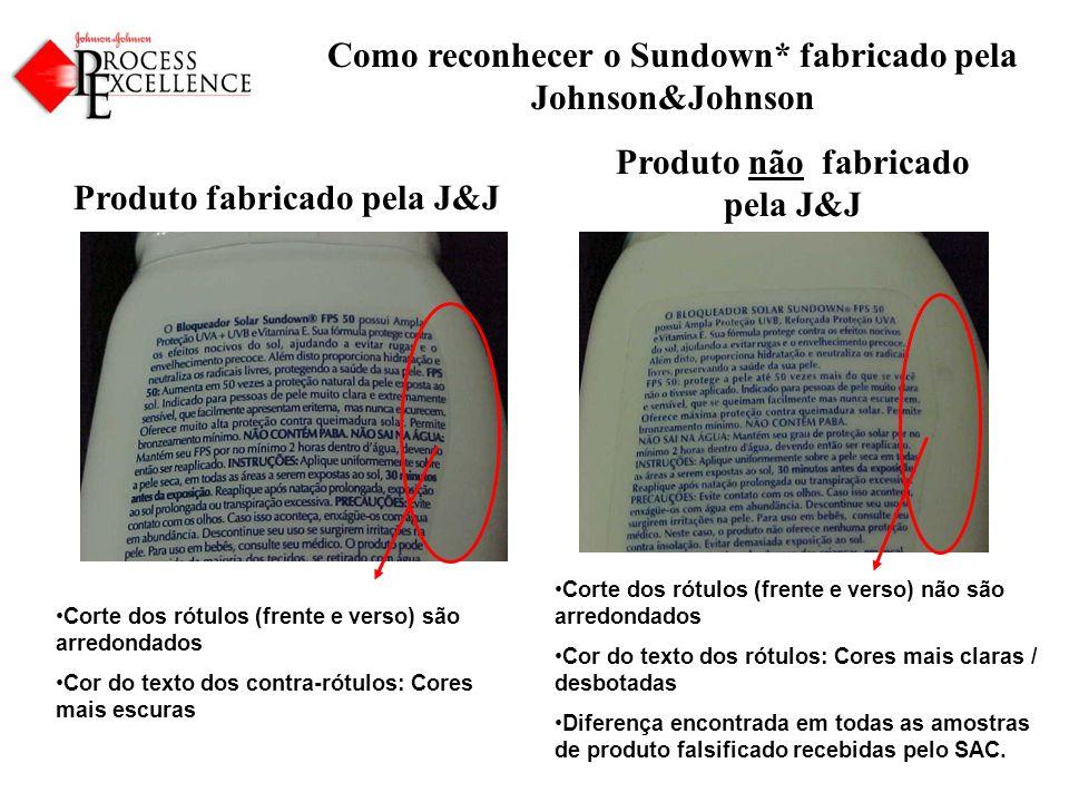 Como reconhecer o Sundown* fabricado pela Johnson&Johnson Produto fabricado pela J&J Produto não fabricado pela J&J Corte dos rótulos (frente e verso) são arredondados Cor do texto dos contra-rótulos: Cores mais escuras Corte dos rótulos (frente e verso) não são arredondados Cor do texto dos rótulos: Cores mais claras / desbotadas Diferença encontrada em todas as amostras de produto falsificado recebidas pelo SAC.