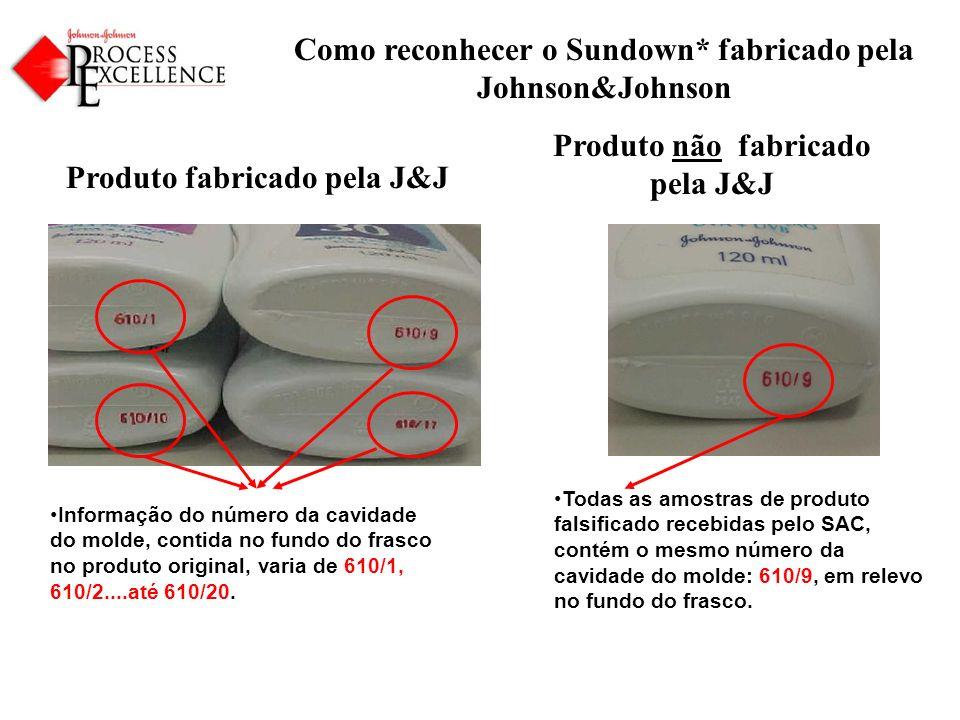 Como reconhecer o Sundown* fabricado pela Johnson&Johnson Produto fabricado pela J&J Produto não fabricado pela J&J Informação do número da cavidade do molde, contida no fundo do frasco no produto original, varia de 610/1, 610/2....até 610/20.
