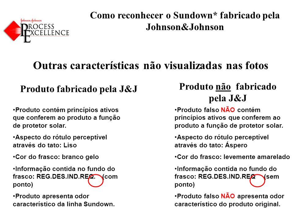 Como reconhecer o Sundown* fabricado pela Johnson&Johnson Outras características não visualizadas nas fotos Produto fabricado pela J&J Produto contém princípios ativos que conferem ao produto a função de protetor solar.