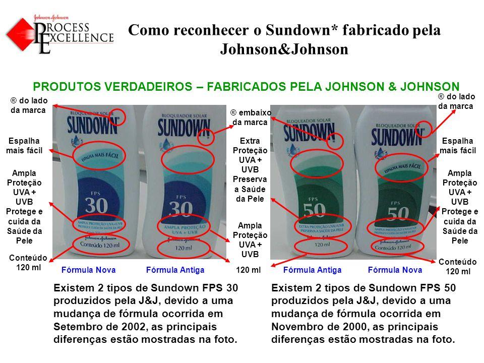 Como reconhecer o Sundown* fabricado pela Johnson&Johnson PRODUTOS VERDADEIROS – FABRICADOS PELA JOHNSON & JOHNSON Existem 2 tipos de Sundown FPS 50 produzidos pela J&J, devido a uma mudança de fórmula ocorrida em Novembro de 2000, as principais diferenças estão mostradas na foto.