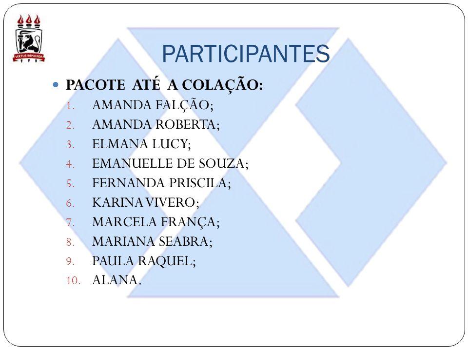 PARTICIPANTES PACOTE ATÉ A COLAÇÃO: 1. AMANDA FALÇÃO; 2. AMANDA ROBERTA; 3. ELMANA LUCY; 4. EMANUELLE DE SOUZA; 5. FERNANDA PRISCILA; 6. KARINA VIVERO