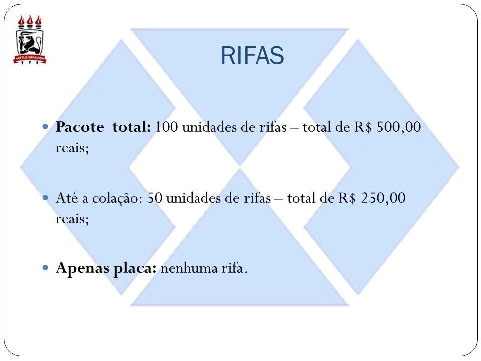 RIFAS Pacote total: 100 unidades de rifas – total de R$ 500,00 reais; Até a colação: 50 unidades de rifas – total de R$ 250,00 reais; Apenas placa: nenhuma rifa.