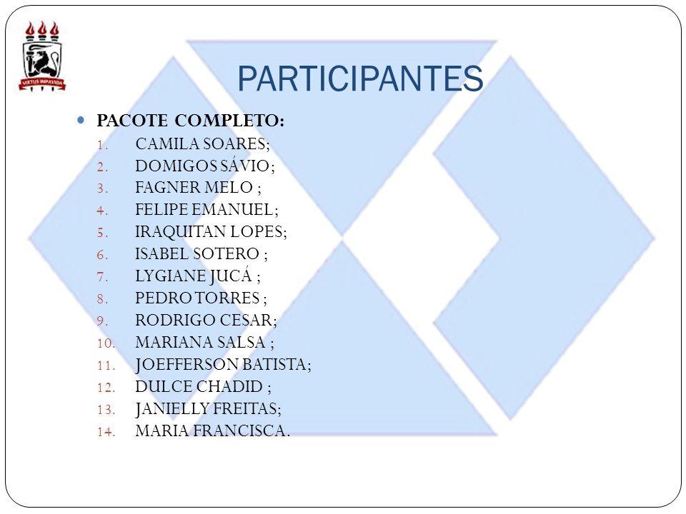 PARTICIPANTES PACOTE COMPLETO: 1. CAMILA SOARES; 2. DOMIGOS SÁVIO; 3. FAGNER MELO ; 4. FELIPE EMANUEL; 5. IRAQUITAN LOPES; 6. ISABEL SOTERO ; 7. LYGIA