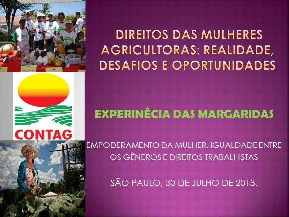 EXPERINÊCIA DAS MARGARIDAS EMPODERAMENTO DA MULHER, IGUALDADE ENTRE OS GÊNEROS E DIREITOS TRABALHISTAS SÃO PAULO, 30 DE JULHO DE 2013.
