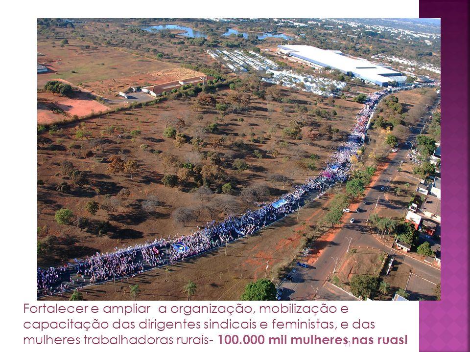 11 Fortalecer e ampliar a organização, mobilização e capacitação das dirigentes sindicais e feministas, e das mulheres trabalhadoras rurais- 100.000 mil mulheres nas ruas.