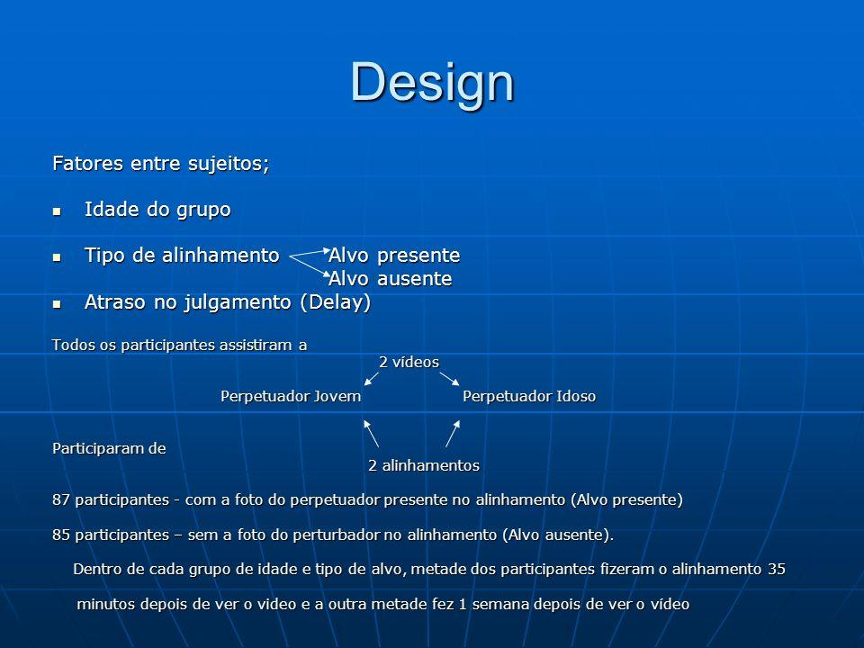 Design Fatores entre sujeitos; Idade do grupo Idade do grupo Tipo de alinhamento Alvo presente Tipo de alinhamento Alvo presente Alvo ausente Alvo aus