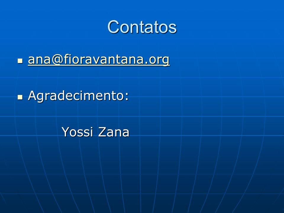 Contatos ana@fioravantana.org ana@fioravantana.org ana@fioravantana.org Agradecimento: Agradecimento: Yossi Zana Yossi Zana