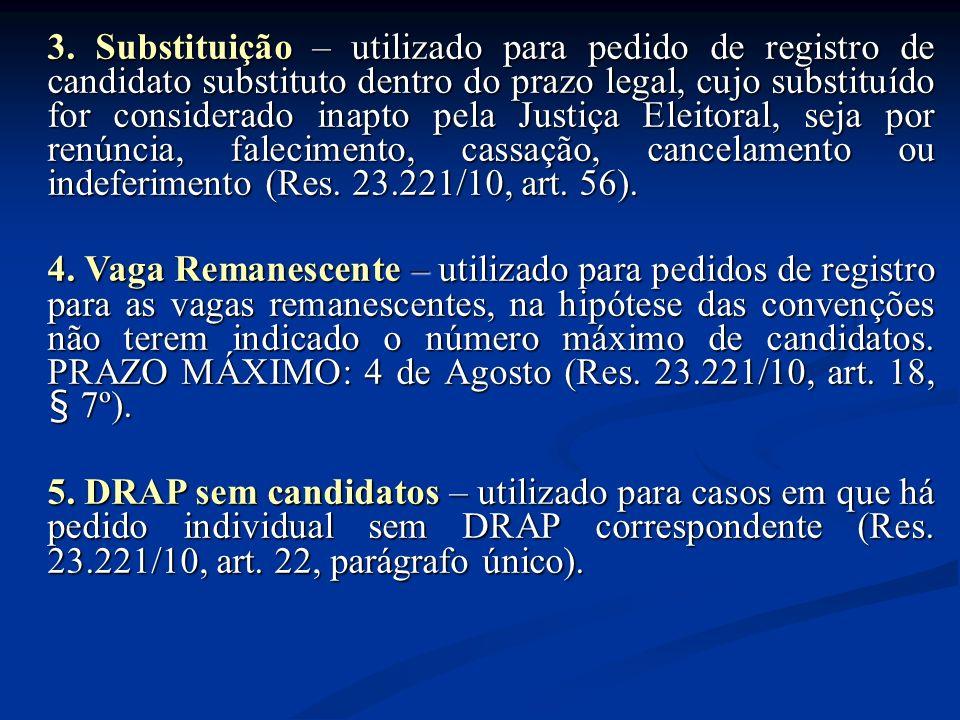 3. Substituição – utilizado para pedido de registro de candidato substituto dentro do prazo legal, cujo substituído for considerado inapto pela Justiç