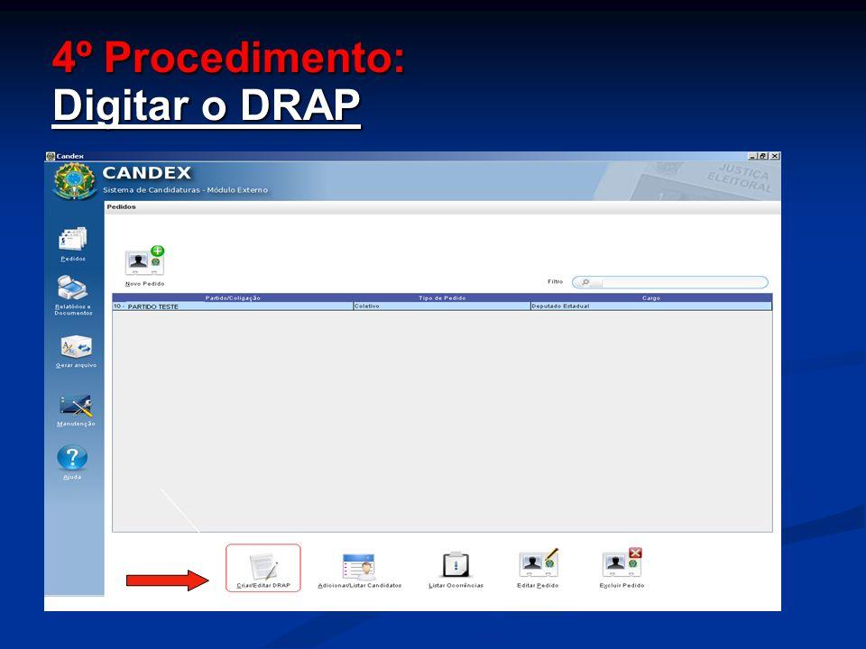 4º Procedimento: Digitar o DRAP
