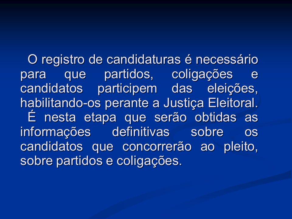 O registro de candidaturas é necessário para que partidos, coligações e candidatos participem das eleições, habilitando-os perante a Justiça Eleitoral.