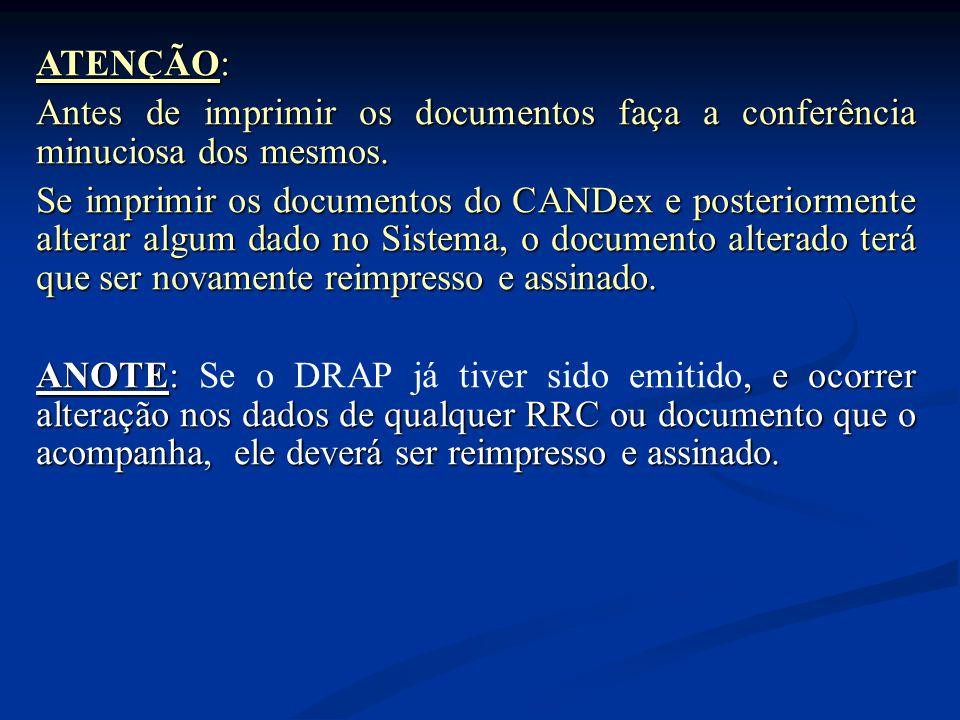 ATENÇÃO: Antes de imprimir os documentos faça a conferência minuciosa dos mesmos.