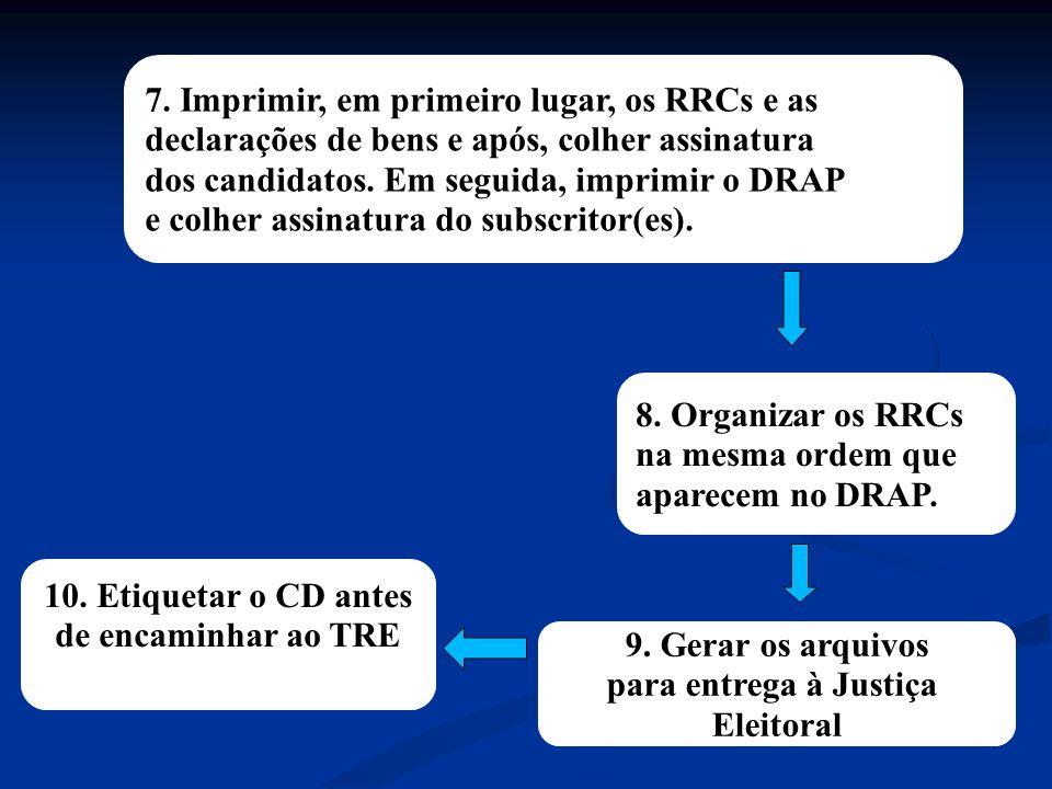 9. Gerar os arquivos para entrega à Justiça Eleitoral 8.