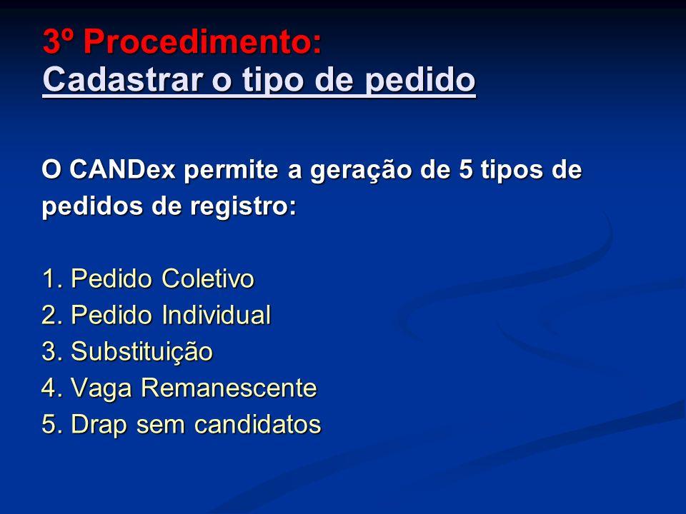 3º Procedimento: Cadastrar o tipo de pedido O CANDex permite a geração de 5 tipos de pedidos de registro: 1.