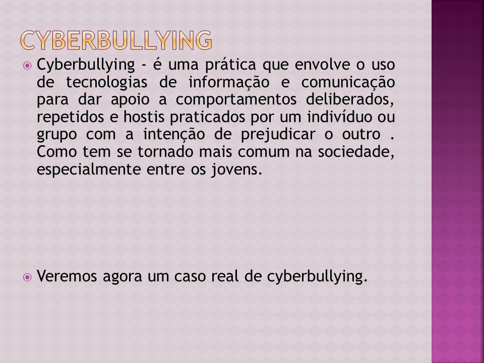 Bullying são atitudes agressivas, verbais, ou físicas que são feitas com intensão de oprimir e angustiar uma pessoa. Uma das formas de bullying é o cy