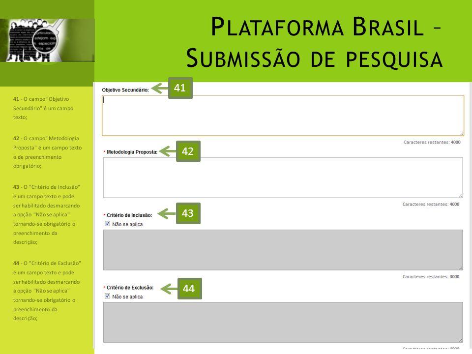 P LATAFORMA B RASIL – S UBMISSÃO DE PESQUISA 41 - O campo