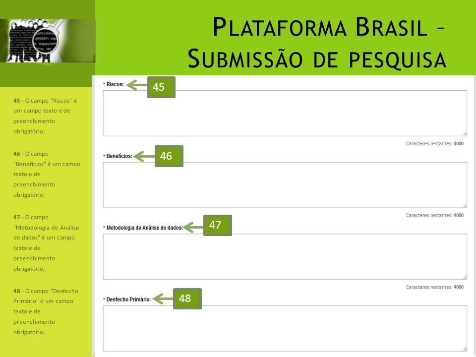 P LATAFORMA B RASIL – S UBMISSÃO DE PESQUISA 45 - O campo