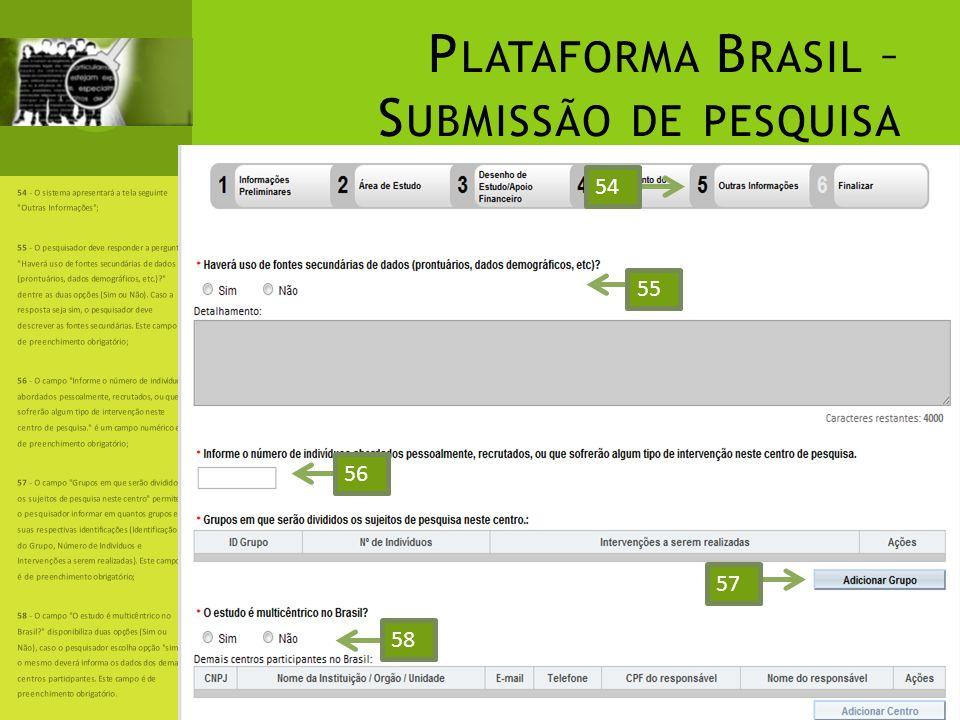 P LATAFORMA B RASIL – S UBMISSÃO DE PESQUISA 54 - O sistema apresentará a tela seguinte