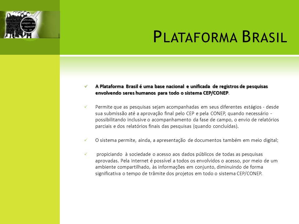A Plataforma Brasil é uma base nacional e unificada de registros de pesquisas envolvendo seres humanos para todo o sistema CEP/CONEP A Plataforma Bras