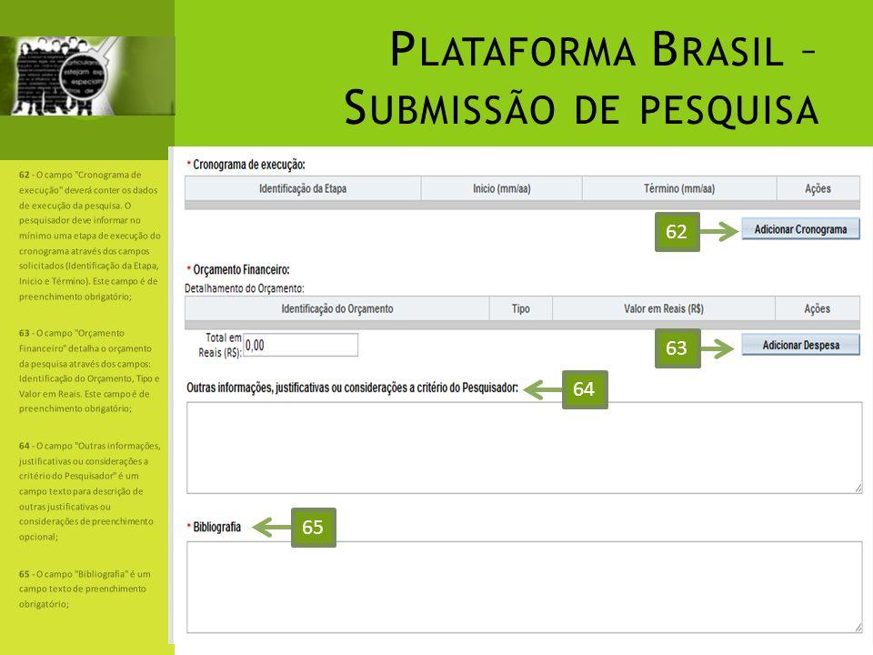 P LATAFORMA B RASIL – S UBMISSÃO DE PESQUISA 62 - O campo