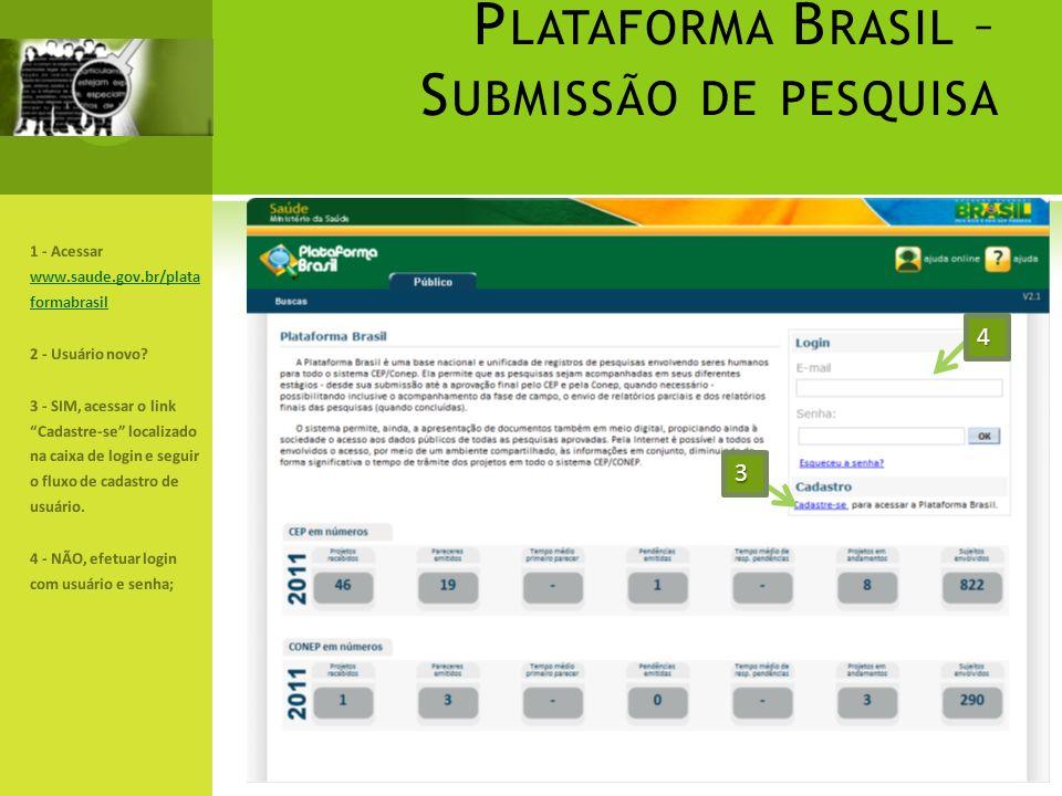 P LATAFORMA B RASIL – S UBMISSÃO DE PESQUISA 1 - Acessar www.saude.gov.br/plata formabrasil www.saude.gov.br/plata formabrasil 2 - Usuário novo? 3 - S