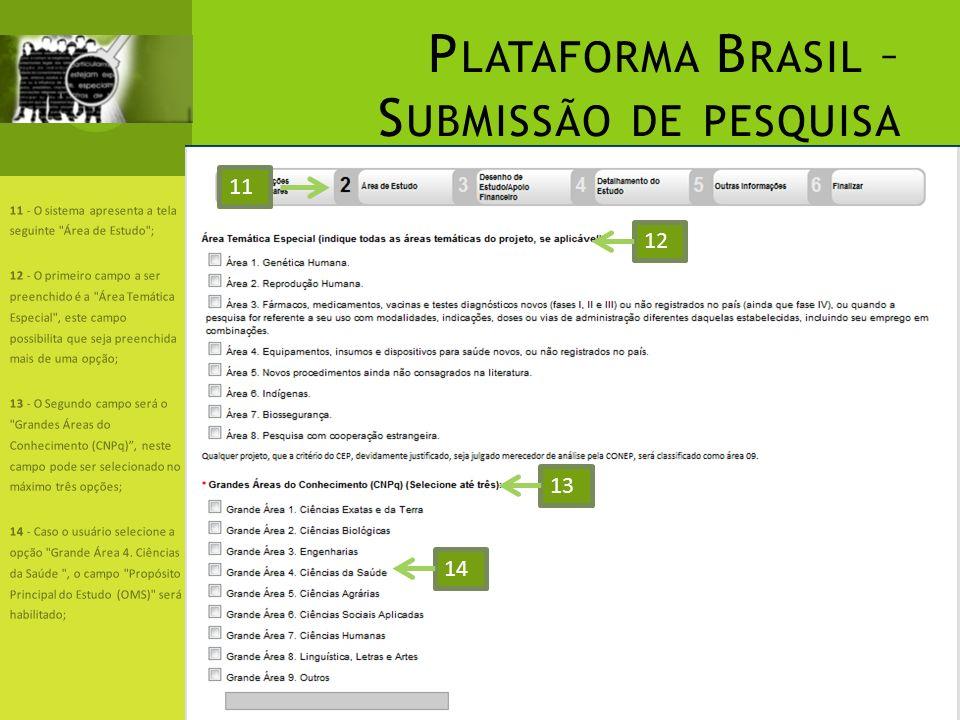 P LATAFORMA B RASIL – S UBMISSÃO DE PESQUISA 11 - O sistema apresenta a tela seguinte